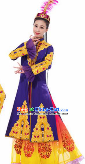 Traditional Chinese Uyghur Nationality Ethnic Costume Uigurian Minority Dance Purple Dress for Women