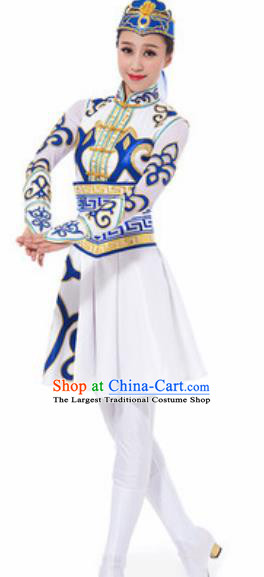 Traditional Chinese Mongol Nationality Ethnic Costume Mongolian Minority Dance White Dress for Women
