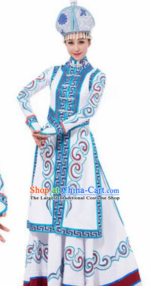 Traditional Chinese Mongol Ethnic Costume Mongolian Nationality Minority Dance White Dress for Women