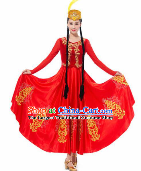 Traditional Chinese Uyghur Ethnic Costume Uyghurian Nationality Minority Dance Red Dress for Women