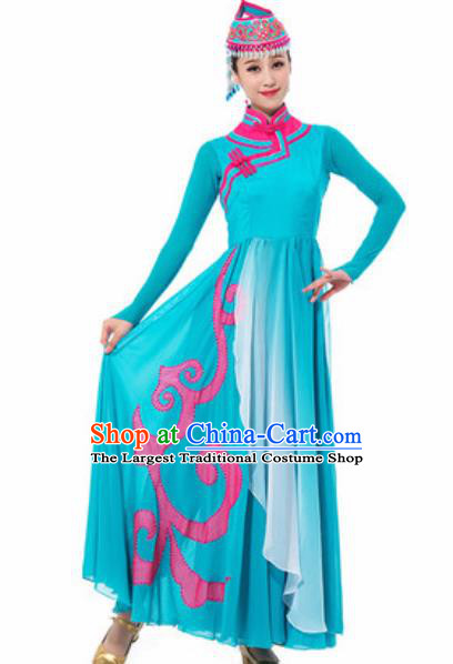 Traditional Chinese Mongol Ethnic Costume Mongolian Nationality Minority Dance Blue Dress for Women