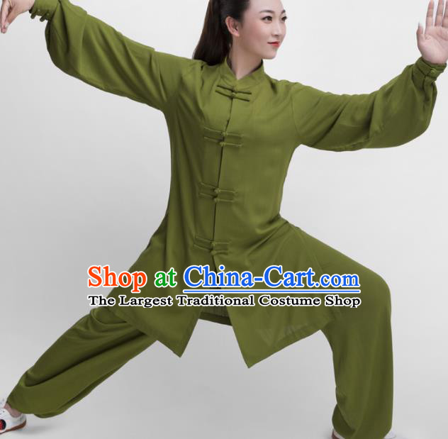 Chinese Traditional Martial Arts Competition Olive Green Costume Kung Fu Tai Chi Training Clothing for Women