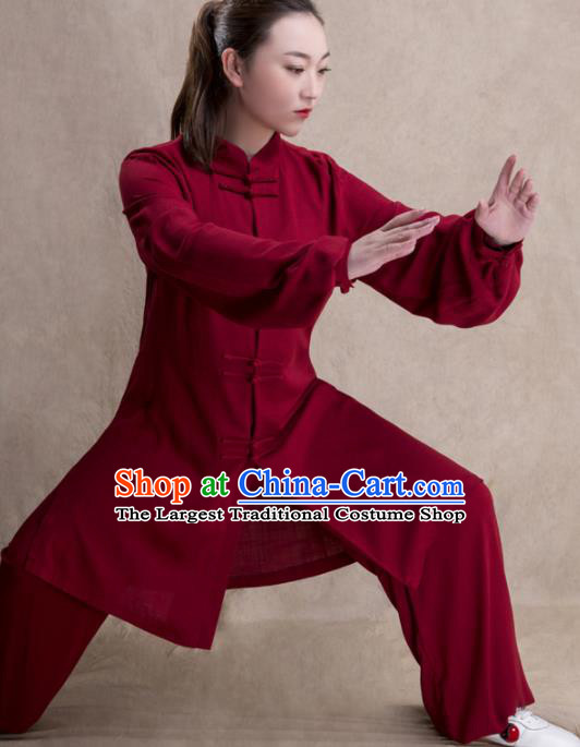 Chinese Traditional Martial Arts Competition Wine Red Costume Kung Fu Tai Chi Training Clothing for Women