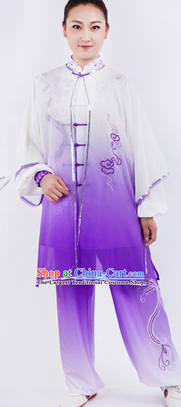 Chinese Traditional Martial Arts Gradient Purple Costume Kung Fu Competition Tai Chi Training Clothing for Women