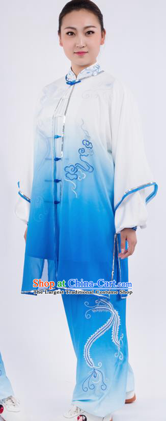 Chinese Traditional Martial Arts Gradient Blue Costume Kung Fu Competition Tai Chi Training Clothing for Women