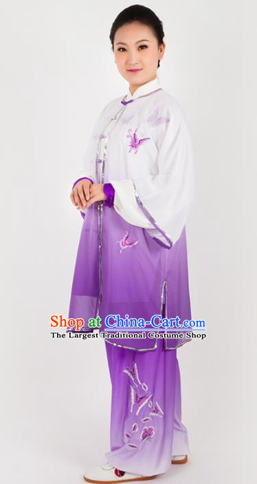 Chinese Traditional Martial Arts Embroidered Purple Costume Kung Fu Competition Tai Chi Training Clothing for Women