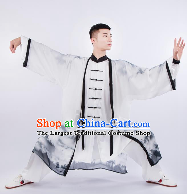 Chinese Traditional Martial Arts Competition Ink Painting Costume Kung Fu Tai Chi Training Clothing for Men