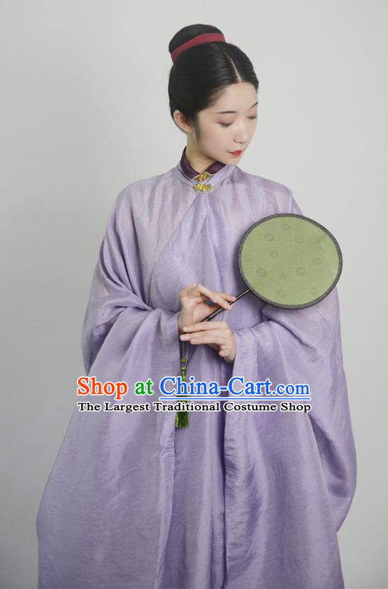 Traditional Chinese Ming Dynasty Young Mistress Purple Hanfu Dress Ancient Nobility Lady Replica Costumes for Women