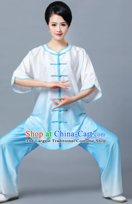 Professional Chinese Martial Arts Gradient Blue Costume Traditional Kung Fu Competition Tai Chi Clothing for Women