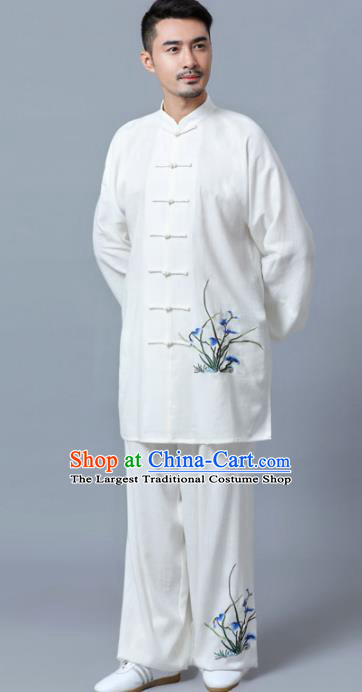 Traditional Chinese Martial Arts Competition Printing Orchid Uniforms Kung Fu Tai Chi Training Costume for Men