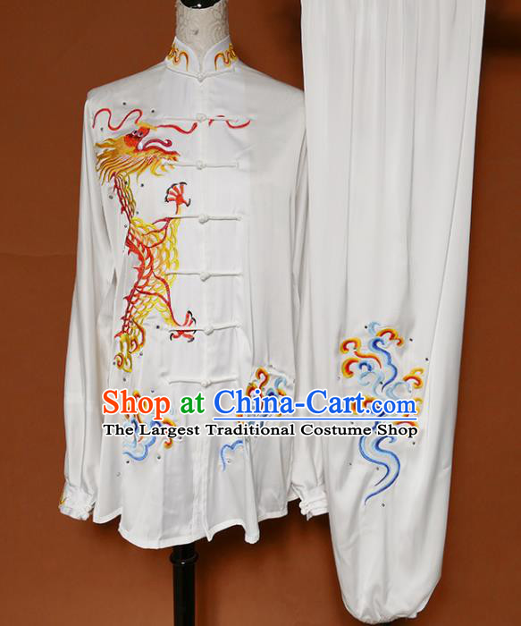 White Best Martial Arts Competition Embroidered Dragon Uniforms Chinese Traditional Kung Fu Tai Chi Training Costume for Men