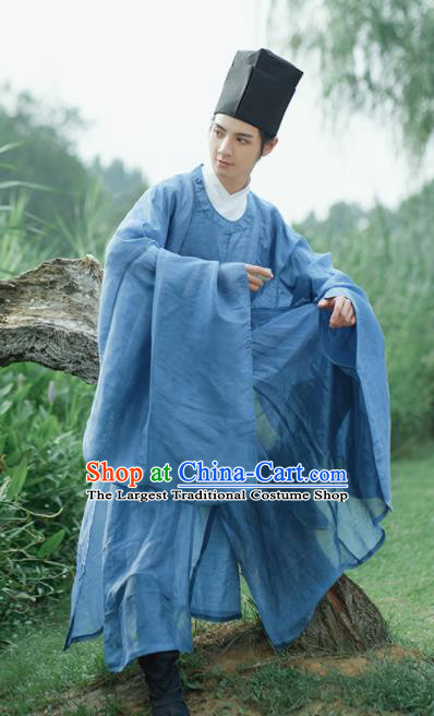 Traditional Chinese Ming Dynasty Childe Scholar Blue Robe Ancient Drama Taoist Priest Replica Costumes for Men