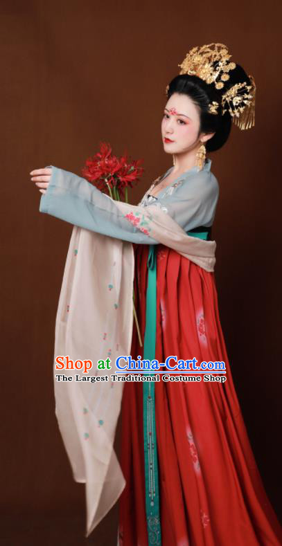 Traditional Chinese Tang Dynasty Imperial Consort Hanfu Dress Ancient Drama Court Lady Replica Costumes for Women