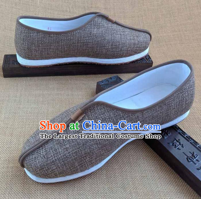 Traditional Chinese Cloth Shoes Handmade Multi Layered Shoes Martial Arts Brown Linen Shoes for Men