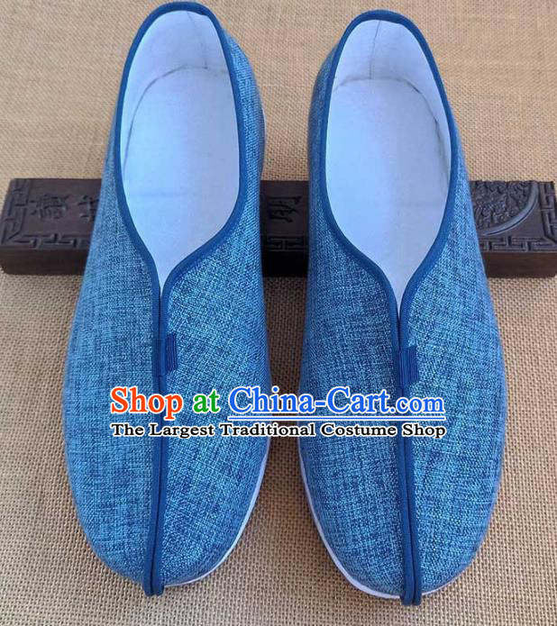 Traditional Chinese Cloth Shoes Handmade Multi Layered Shoes Martial Arts Blue Linen Shoes for Men