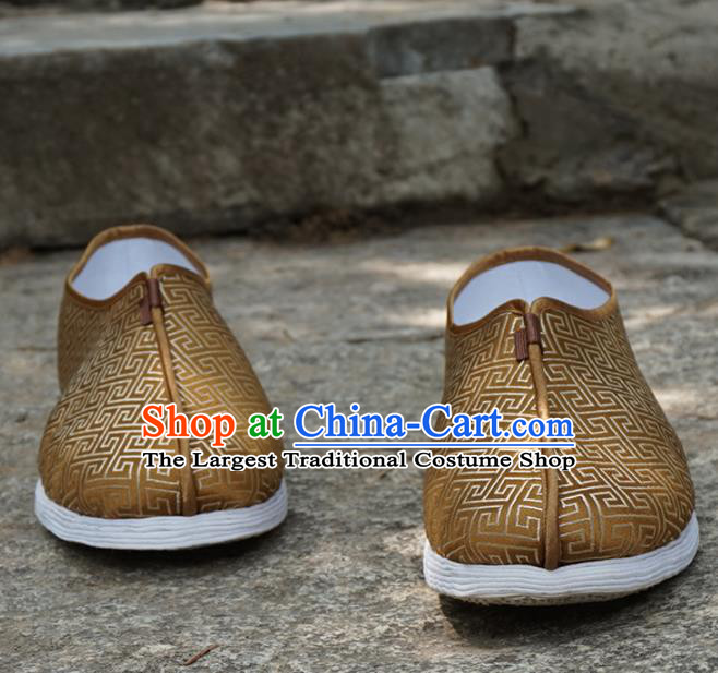 Traditional Chinese Brown Monk Shoes Handmade Multi Layered Cloth Shoes Martial Arts Shoes for Men