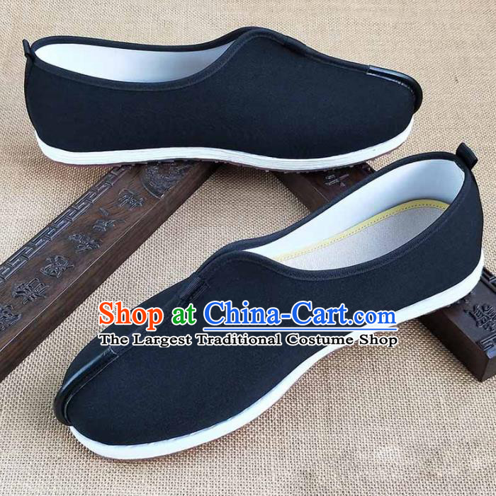 Traditional Chinese Black Monk Shoes Handmade Multi Layered Cloth Shoes Martial Arts Shoes for Men