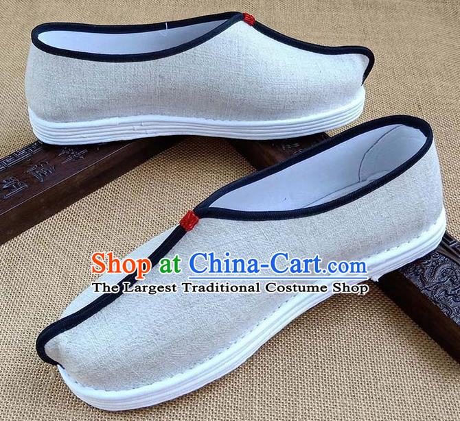 Traditional Chinese Beige Linen Monk Shoes Handmade Multi Layered Cloth Shoes Martial Arts Shoes for Men