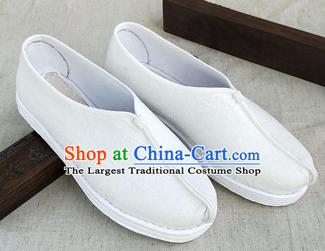 Traditional Chinese White Linen Monk Shoes Handmade Multi Layered Cloth Shoes Martial Arts Shoes for Men