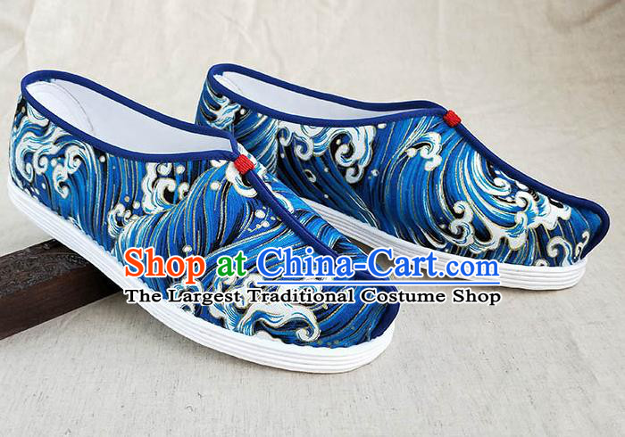 Traditional Chinese Printing Wave Blue Shoes Handmade Multi Layered Cloth Shoes Martial Arts Shoes for Men