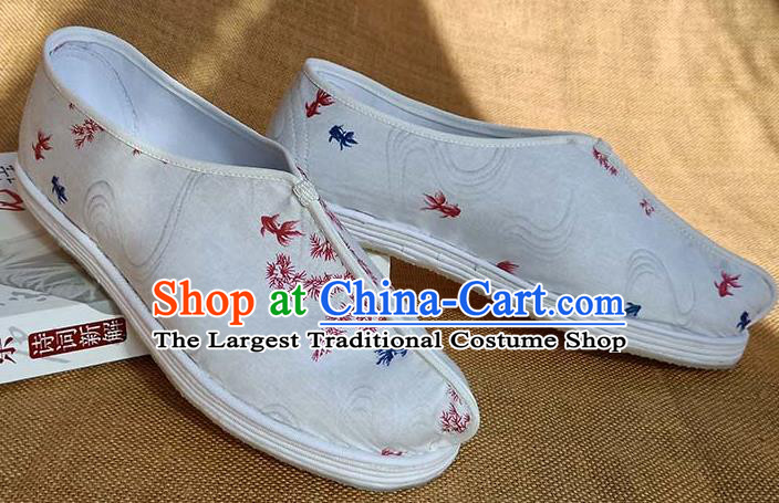 Traditional Chinese Printing Goldfish White Shoes Handmade Multi Layered Cloth Shoes Martial Arts Shoes for Men