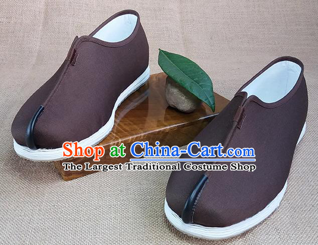 Traditional Chinese Monk Brown Shoes Handmade Multi Layered Cloth Shoes Martial Arts Shoes for Men