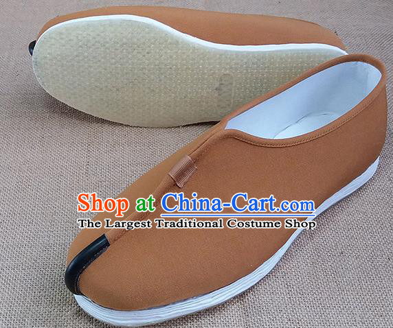 Traditional Chinese Monk Ginger Shoes Handmade Multi Layered Cloth Shoes Martial Arts Shoes for Men
