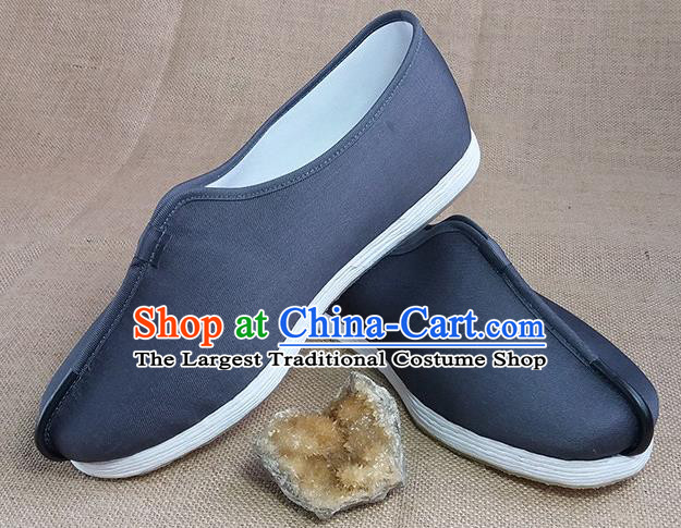 Traditional Chinese Monk Grey Shoes Handmade Multi Layered Cloth Shoes Martial Arts Shoes for Men
