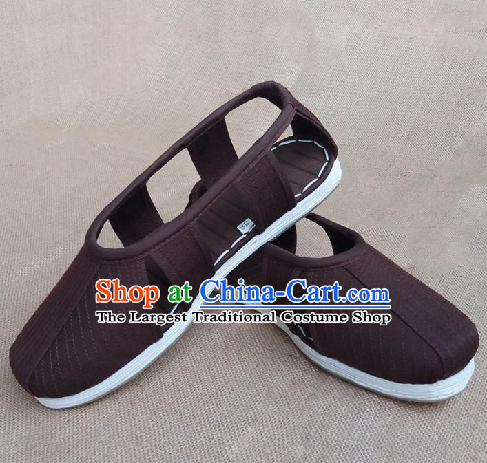 Traditional Chinese Buddhist Monk Shoes Handmade Brown Multi Layered Cloth Sandal Martial Arts Shoes for Men