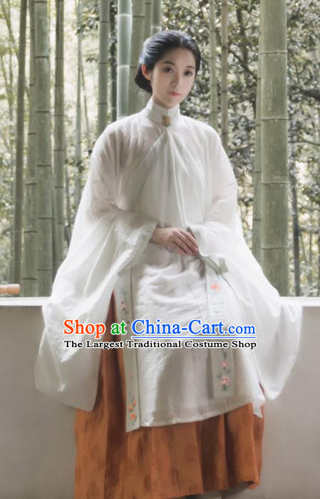 Traditional Chinese Ming Dynasty Palace Lady White Long Gown Ancient Drama Princess Replica Costumes for Women