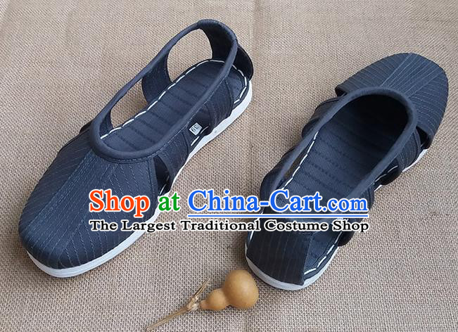 Traditional Chinese Buddhist Monk Shoes Handmade Navy Multi Layered Cloth Sandal Martial Arts Shoes for Men