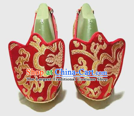 Traditional Chinese Red Satin Shoes Handmade Hanfu Shoes Ancient Princess Wedding Shoes for Women