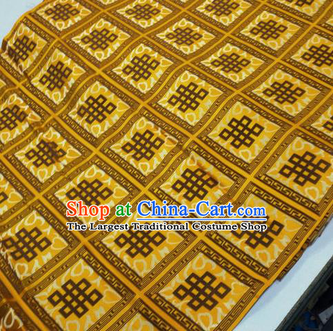 Asian Chinese Traditional Buddhism Lucky Knots Pattern Design Yellow Brocade Fabric Tibetan Robe Silk Material