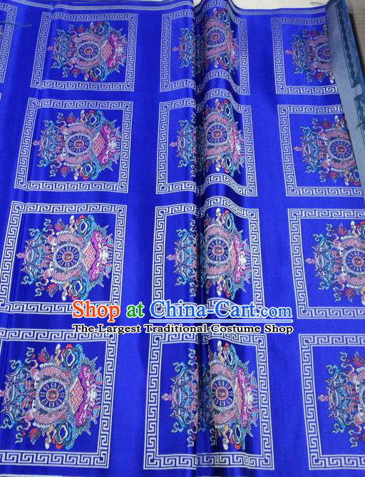 Asian Chinese Traditional Buddhism Eight Treasures Pattern Design Royalblue Brocade Fabric Tibetan Robe Silk Material