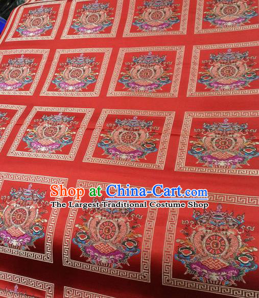 Asian Chinese Traditional Buddhism Eight Treasures Pattern Design Red Brocade Fabric Tibetan Robe Silk Material