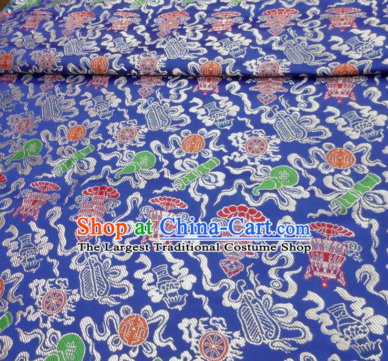 Asian Chinese Buddhism Traditional Eight Treasures Pattern Design Blue Brocade Fabric Tibetan Robe Silk Material