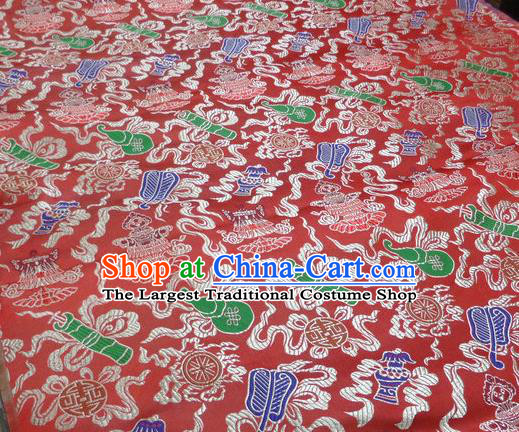 Asian Chinese Buddhism Traditional Eight Treasures Pattern Design Red Brocade Fabric Tibetan Robe Silk Material