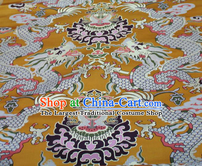 Asian Chinese Buddhism Traditional Dragons Pattern Design Yellow Brocade Fabric Tibetan Robe Silk Material