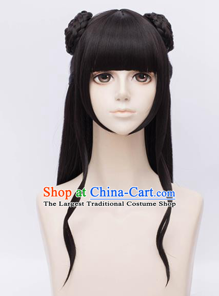 Customized Chinese Cosplay Young Lady Wigs Ancient Swordswoman Hair Accessories Wig Sheath