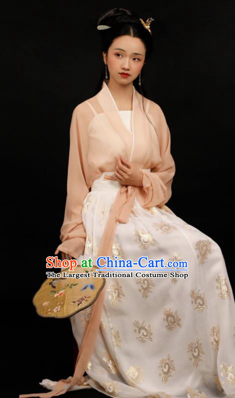 Traditional Chinese Song Dynasty Aristocratic Mistress Hanfu Dress Ancient Drama Nobility Lady Replica Costumes for Women