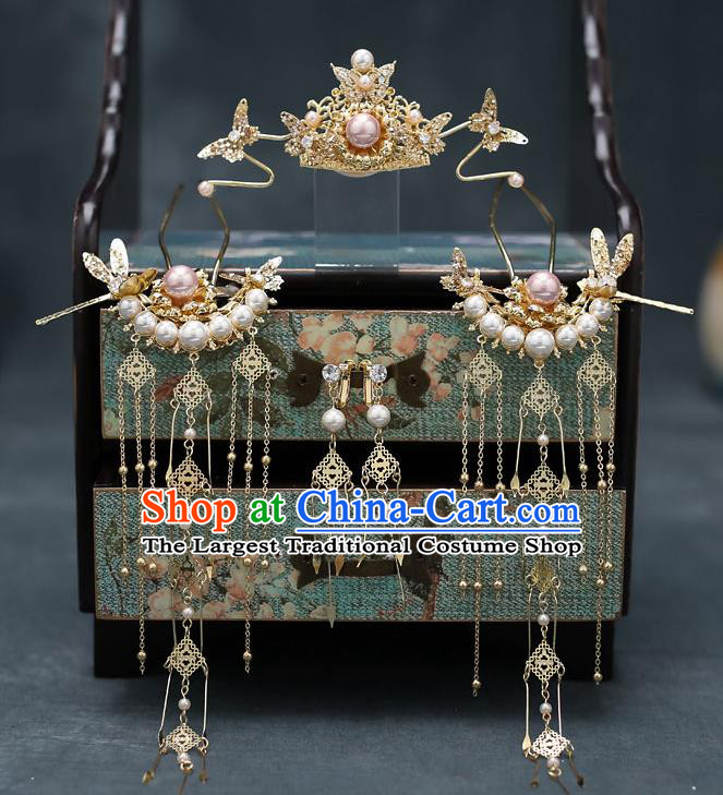 Top Chinese Traditional Golden Hair Comb Wedding Bride Handmade Hairpins Hair Accessories Complete Set