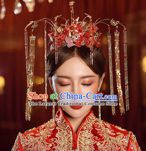 Top Chinese Traditional Bride Red Butterfly Hair Crown Handmade Wedding Tassel Hairpins Hair Accessories Complete Set