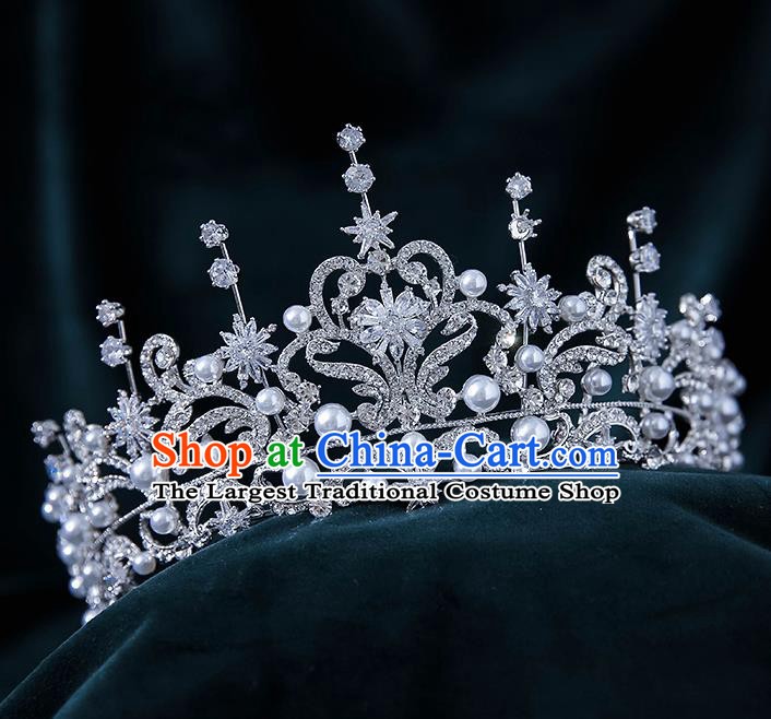 Top Grade Handmade Princess Zircon Stars Royal Crown Wedding Bride Hair Accessories for Women