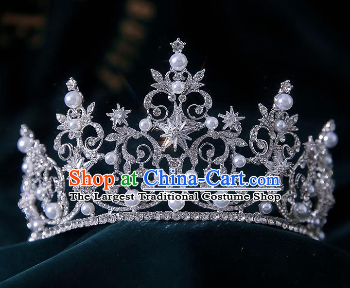Top Grade Handmade Princess Zircon Hexagram Royal Crown Wedding Bride Hair Accessories for Women