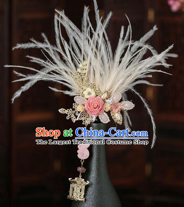Top Chinese Traditional Feather Hair Claw Handmade Hanfu Hairpins Hair Accessories for Women