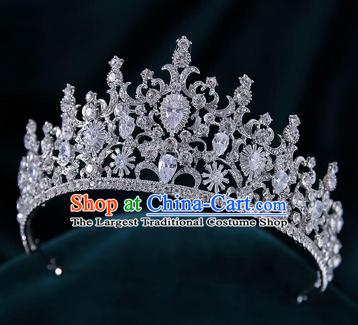 Top Grade Handmade Princess Zircon Crystal Royal Crown Wedding Bride Hair Accessories for Women
