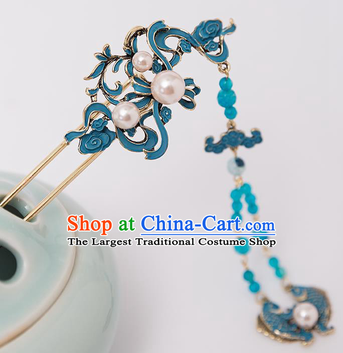 Top Chinese Traditional Blue Fishes Hair Clip Handmade Hanfu Tassel Hairpins Hair Accessories for Women