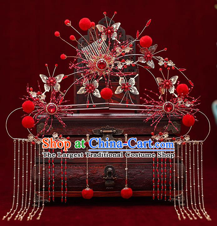 Top Chinese Traditional Bride Red Crystal Hair Comb Handmade Wedding Tassel Hairpins Hair Accessories Complete Set