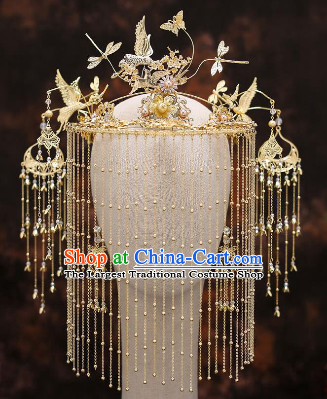 Top Chinese Traditional Bride Tassel Golden Cranes Hair Crown Handmade Hairpins Wedding Hair Accessories Complete Set
