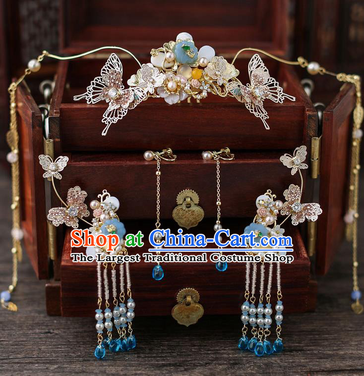 Top Chinese Traditional Bride Tassel Hair Crown Handmade Hairpins Wedding Hair Accessories Complete Set